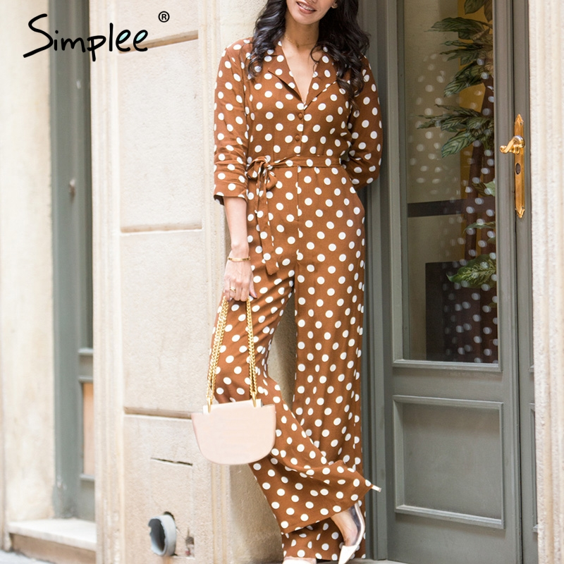 Simplee Sexy v-neck polka dot   jumpsuit   women Elegant sashes chiffon summer romper Casual high waist streetwear overalls 2019