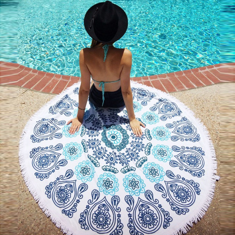 Beach Blanket No Sand: 150cm Summer Large Round Thin Beach Towel Geometric