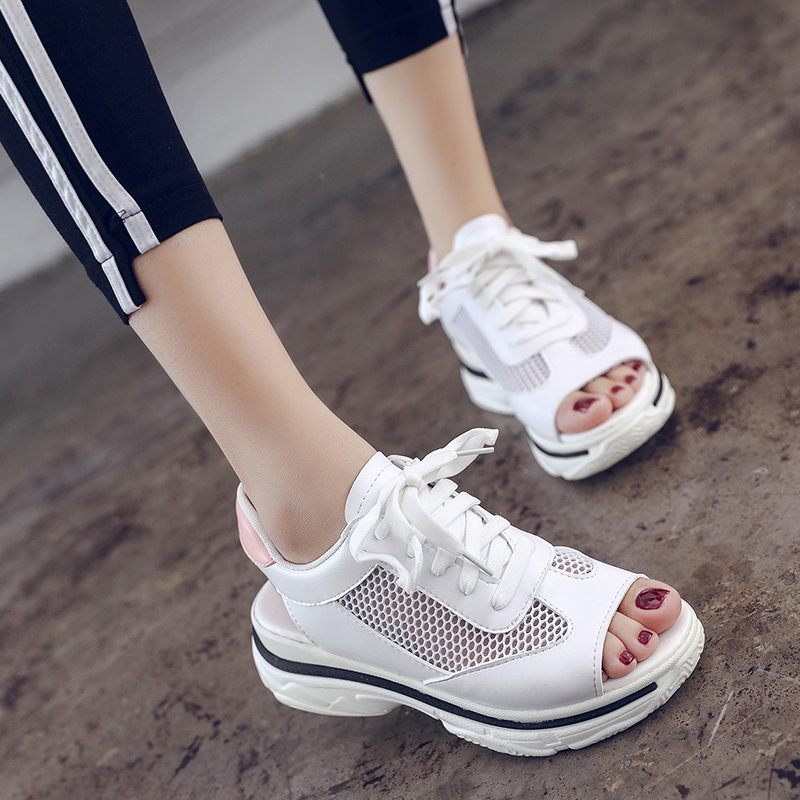 Platform sandal lace-up pu&air mesh women sandals for 2018 summer wedge sandals breathable ladies casual shoes white pink pinsen 2017 summer women flat platform sandals shoes woman casual air mesh comfortable breathable shoes lace up zapatillas mujer