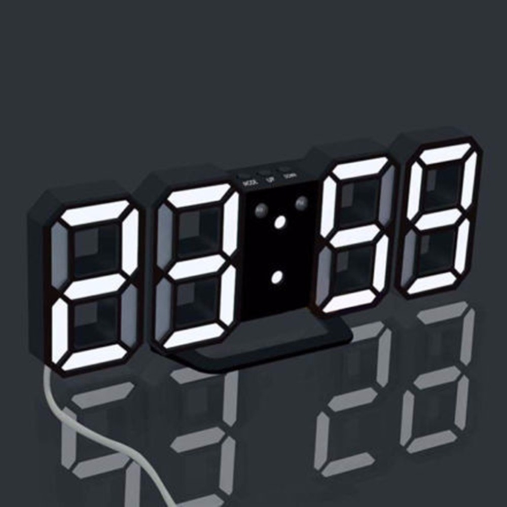 Digital Clock For Sale Us 19 32 40 Off Creative 3d Led Digital Clock Korea Hot Sale Alarm Clock Wall Three Dimensional Wall Clock Blackbody White Home Decoration In Wall