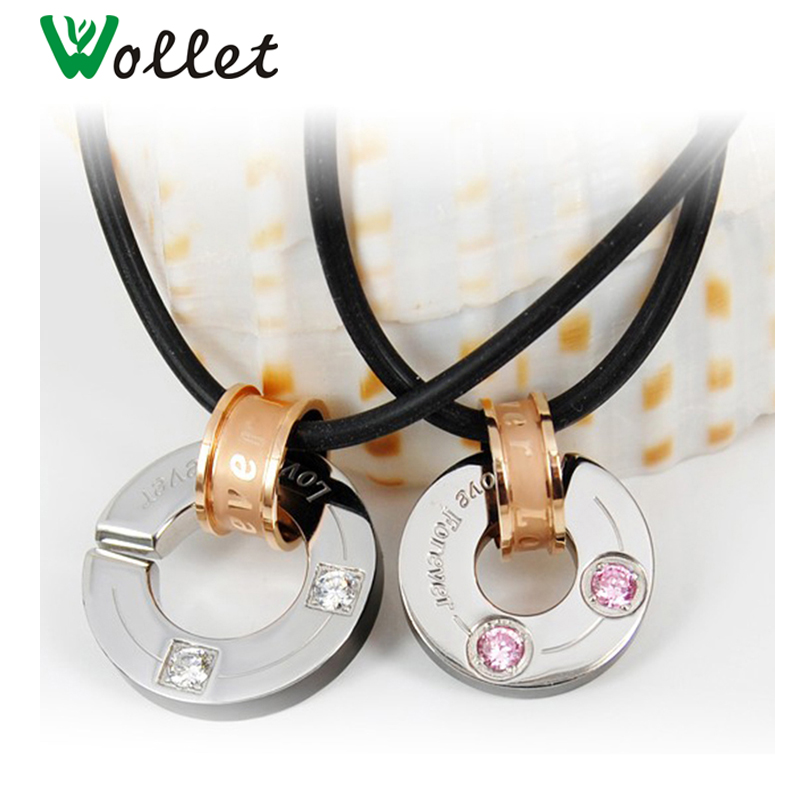 Wollet Chain Couple Necklaces Gift for Men Women Lovers Crystal Stainless Steel Pendant ...