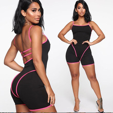 HAOYUAN Sexy Bodycon Playsuit Streetwear Backless Body Fitness Summer Overalls One Piece Outfit Rompers Womens Jumpsuit Shorts