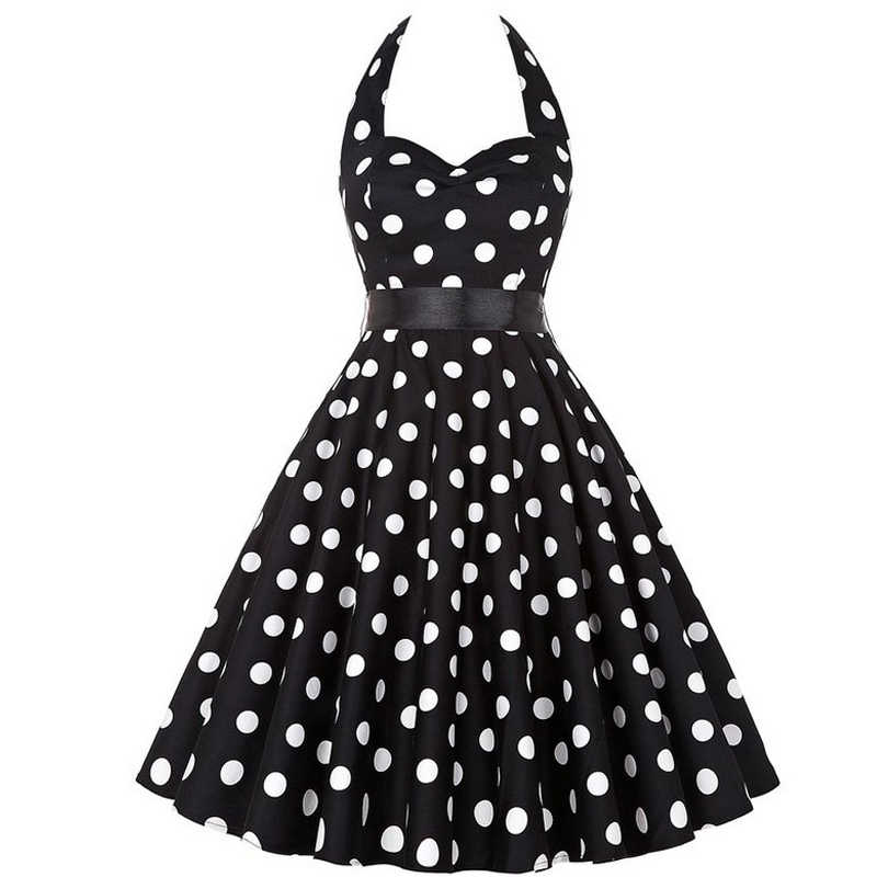 เซนท์ Polka Dot Retro Halter ชุดโบว์ Hepburn Vintage Pin Up Rockabilly Dresses Robe Plus ขนาด Elegant Midi ชุด