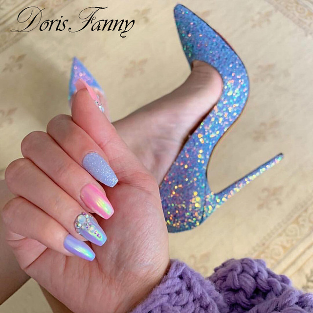 DorisFanny bling bling düğün ayakkabı yüksek topuk pompaları çok seksi stiletto topuklu parti ayakkabıları kadınlar için