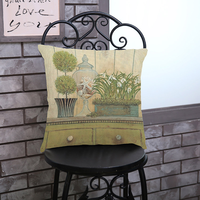 Vintage Potted Plant and Flowers Restaurant Decoration Chair Cushion Cover Retro Floral Print Seat Back Pillow Case Cover