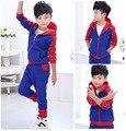 Новый 2016 Человек-Паук детская Одежда Устанавливает хлопка С Длинным Рукавом Мода Человек-Паук Молния Косплей Костюм шаржа младенца комплект одежды