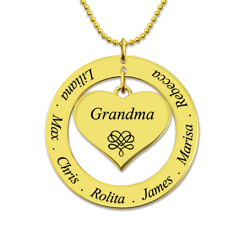 AILIN Customized Engraved Circle Necklace Grandma Heart Pendant Gold Color Family Name Necklace Personalized Family Gift ailin gold color monogram disc necklace personalized engraved initial disc pendant follow your heart name necklace faith jewelry
