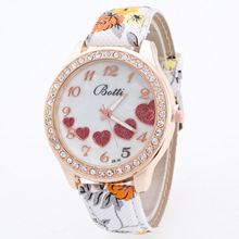 Fashion Rose Gold Rhinestone Pastoral Style Flower PU Leather Quartz Wrist Watch Wristwatches for Women Girls OP001