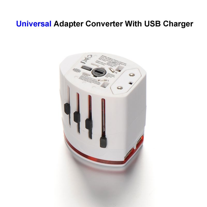 50pcs Universal US EU AU UK Plug Adapter AC Travel Power Adapter Converter Outlet With Dual 5V 2.1A USB Charger