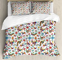 Mexican Duvet Cover Set Traditional Latin American Art Design with Natural Inspirations Flowers and Birds Decor 4pcs Bedding Set
