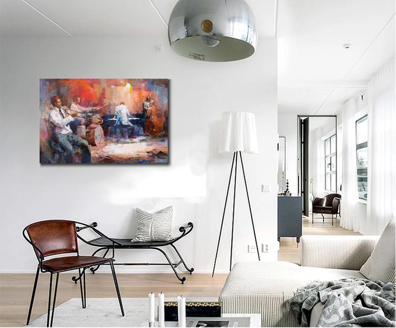 Canvas Wall Art Music Jazz Band Willem Haenraets Oil Painting For Living Room Decor Hand Painted High Quality In Calligraphy From Home
