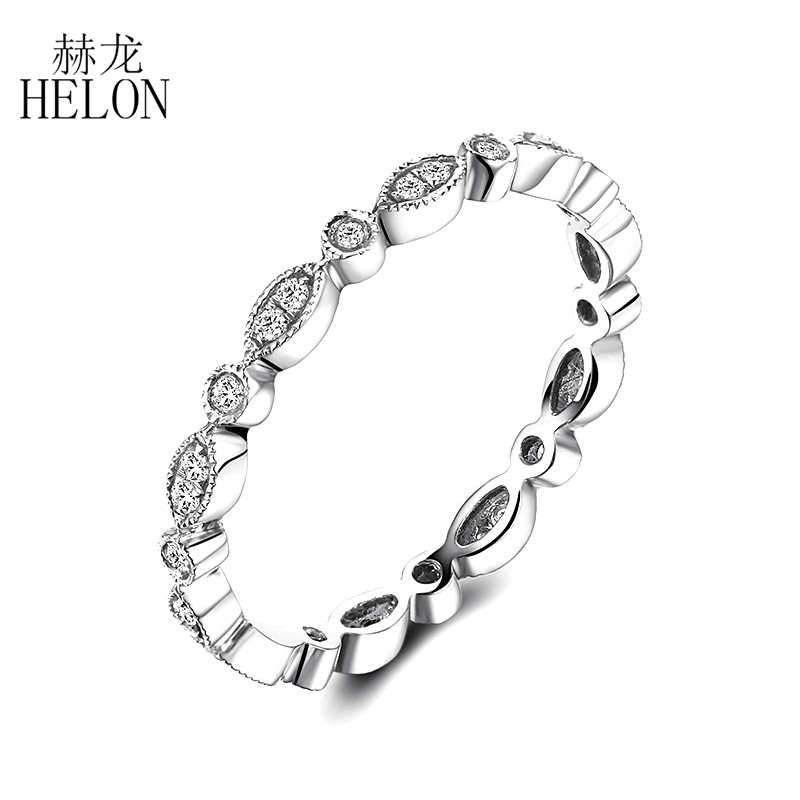 HELON Solid 14K White Gold 0.2ct Natural Diamonds Engagement Ring Antique Art Deco Special Wedding Trendy Fine Jewelry Gift RingHELON Solid 14K White Gold 0.2ct Natural Diamonds Engagement Ring Antique Art Deco Special Wedding Trendy Fine Jewelry Gift Ring