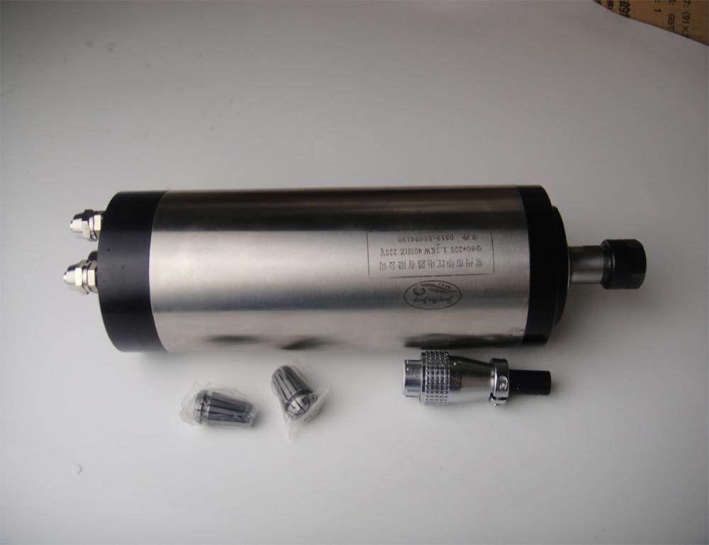 ER11 diámetro 80mm 1.5KW motor de husillo de refrigeración por agua 4 rodamiento para enrutador cnc