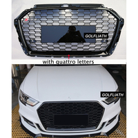 For A3 RS3 Styling center Grille ABS Auto Car Front Mesh Grills with quattro For Audi A3 S3 RS3 2016 2017 with/without emblem
