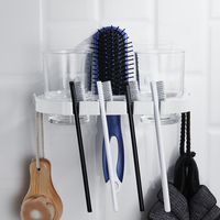 Nordic toothbrush rack white punch free brushing cup bathroom mouthwash cup set wall hanging creative toothpaste rack