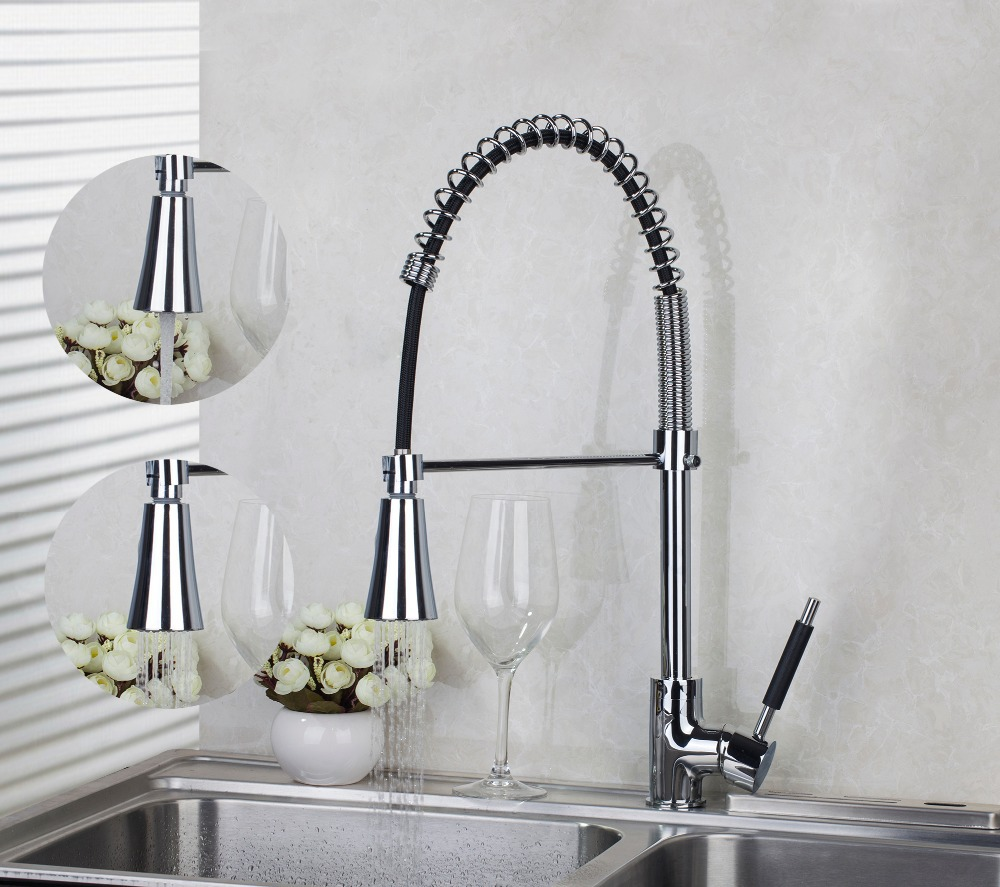 Kitchen Pull Out Down Chrome Brass Swivel Spray Mixer Tap 8538 1 Vessel Sink Mixer Tap