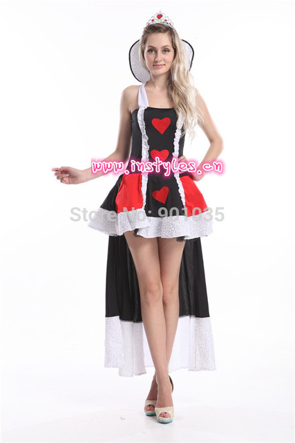 Free Shipping Plus Size Queen Of Heart Costume With Crown Fancy