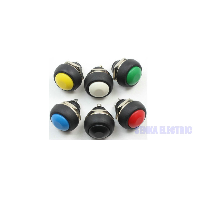 100pcs/lot 6 Colors 12mm Waterproof Momentary Mini Push Button Switch PBS-33B VE058 P50 ...