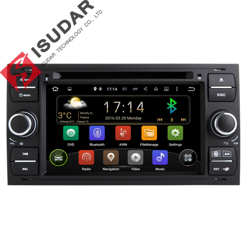 2 Din 7 Inch In Dash Android Car DVD Player For Ford/Mondeo/Focus/Transit/C-MAX With Quad Core Wifi GPS Navigation Radio FM автомобильный dvd плеер joyous kd 7 800 480 2 din 4 4 gps navi toyota rav4 4 4 dvd dual core rds wifi 3g