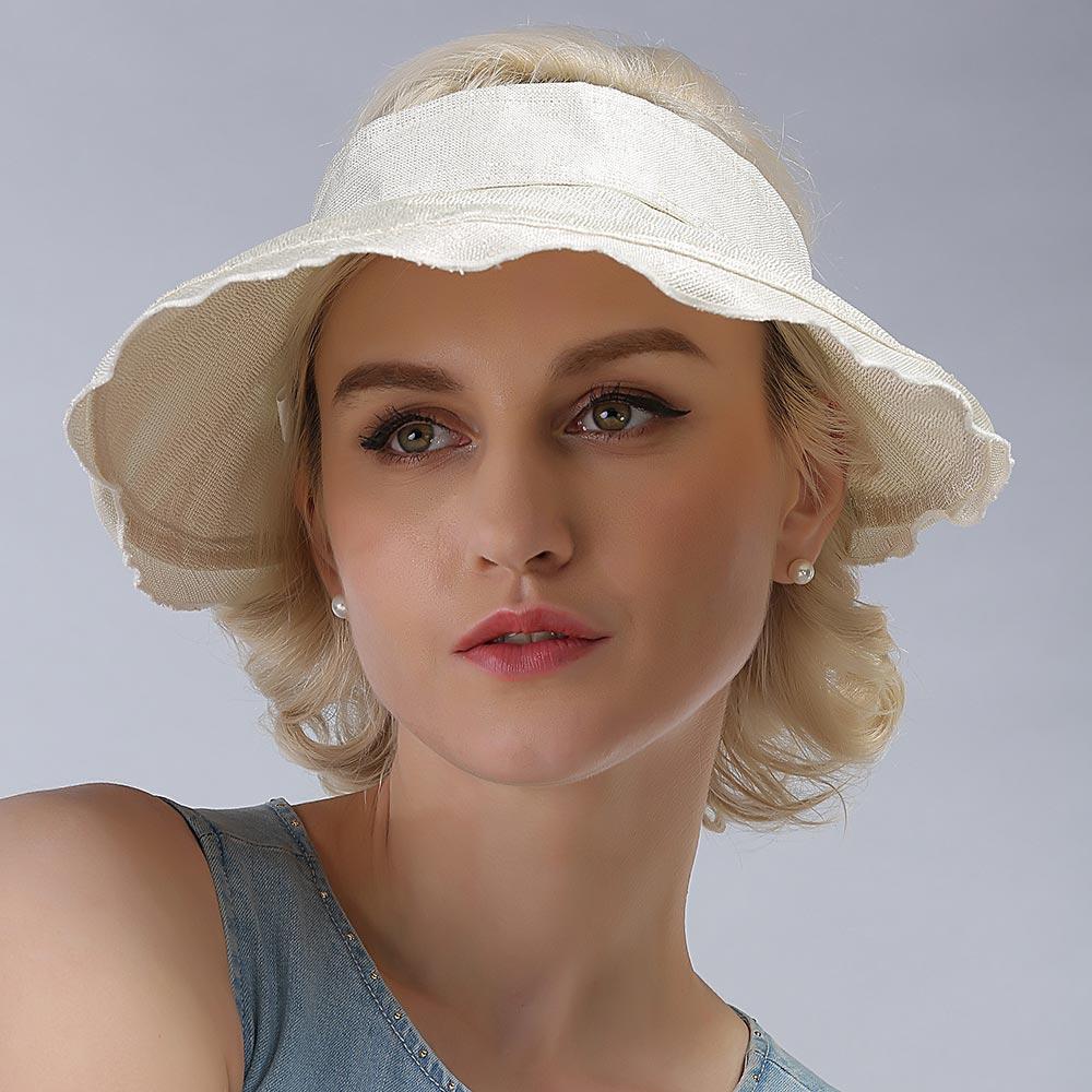 new fashion natural linen clip women sun visor hat outdoor topless