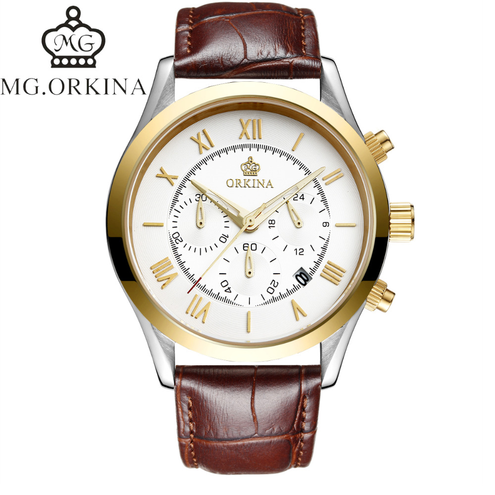 Fashion Men's Horloges Mannen Roman Auto Day Quartz Stopwatch Sport Men's Watch Mens Wirst Watches Gift Box Free Ship orkina gold watch 2016 new elegant armbanduhr herrenuhr quarzuhr uhr cool horloges mannen gift box wrist watches for men