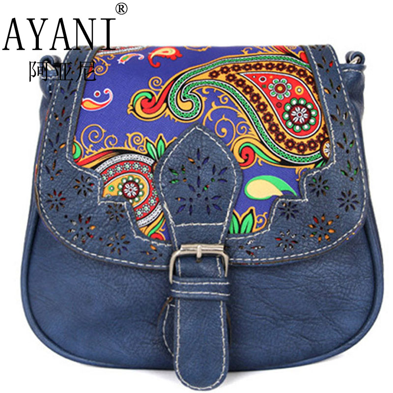 AYANI Brand 100% Europ Spain Jean Leopard design women messenger bags ladies crossbody bag embroidery best festival gifts FS118