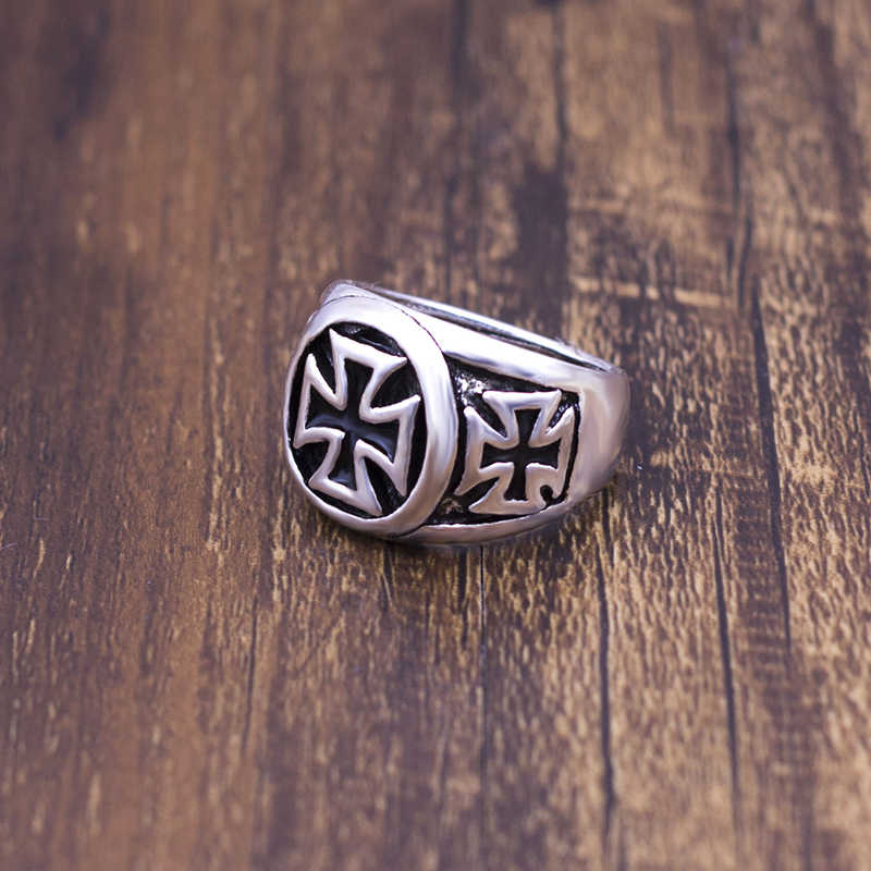 Cross Rings For Men 2018 New Fashion Cool Fashion Cross Ring Man Black Oil Painting jewelry