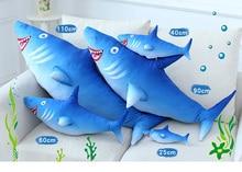 Toys Hobbies - Stuffed Animals  - GGS 90cm 110cm Blue Shark Plush Toy Stuffed Soft Creative Animal Toys Simulation Fish Lover Baby Birthday Gift For Boy And Girls