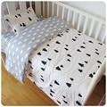 Frete grátis bebê 3 Pcs Roupa de Cama de Algodão Berço Kit bedding set inclui lençol fronha capa de edredão dos desenhos animados do bebê Withou
