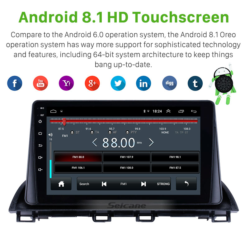 Image 4 - Seicane Android 9.0 2Din Car radio Multimedia Video Player GPS For Mazda 3 Axela 2013 2018 support SWC DVR OBD wifi Mirror LinkCar Multimedia Player   -