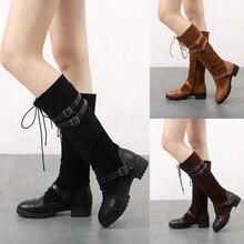 Tangnest mujeres rodilla botas moda hebilla montar plataforma Casual Lace-Up  zapatos planos mujer más 3ce122302d76