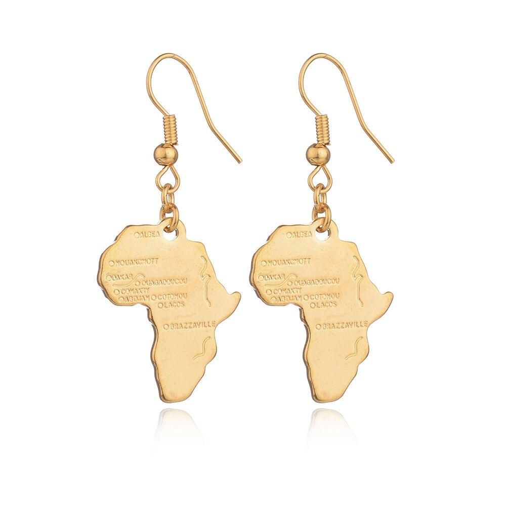 Дешевые Африка Карта Подвеска Цепочки и ожерелья для Для женщин/Для мужчин золотой пластине Цвет Эфиопии ювелирных изделий африканские Карты Brincos хип-хоп пункт - Окраска металла: earrings
