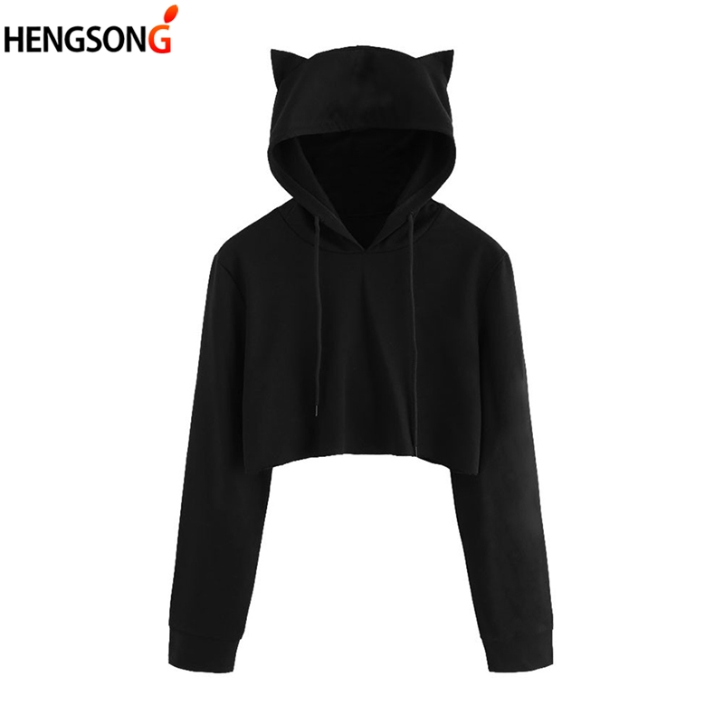 Cute Womens Sweatshirts Hoodie Crop Tops Solid Cat Ear Long Sleeve Cropped Sweatshirt Hooded Pullovers Harajuku Hoody