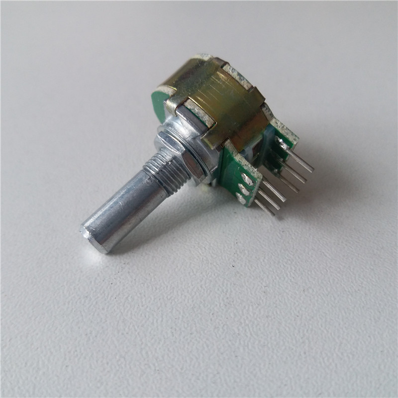 1pcs Step potentiometer 21 digit Step A10K A20K A50K A100K A250K potentiometer progressive handle 20MM double for HIFI amplifier liulian motor potentiometer a100k 25mm round shaft