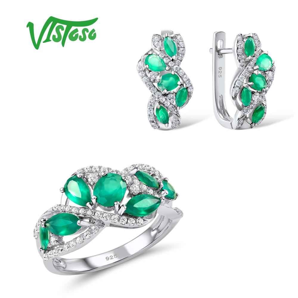 VISTOSO Jewelry Sets For Woman Green Chalcedony White CZ Stones Jewelry Set Earrings Ring 925 Sterling
