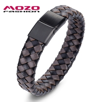 MOZO FASHION Jewelry Men Retro Bracelet Weave Leather Buckle Bracelets Bangles Man Classic Lattice Collocation Bangle