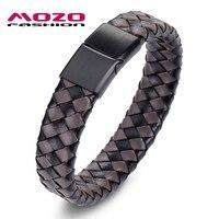 MOZO FASHION Jewelry Men Retro Bracelet Weave Leather Buckle Bracelets Bangles Man Classic Lattice Collocation Bangle