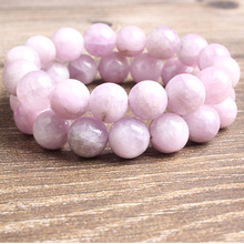 Ling Xiang 8/10/12mm fashion natural Jewelry violet spodumene loose Beads bracelet be fit for Yoga woman meditation amulet