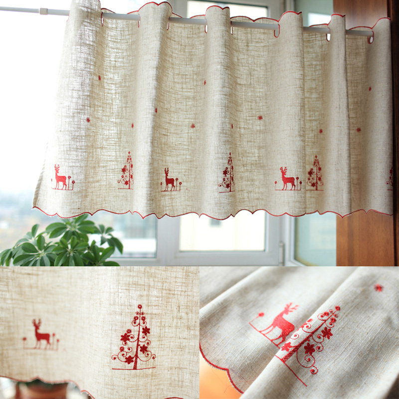 Red Christmas Deer Embroidery Linen Curtains Small Punching Coffee Decoration Curtain Sweet Home Gold Kitchen Rod