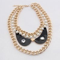 Fashion Multi Layer Collar Bright Gold Thick Chain Mix Pearl Statement Choker Wing Pendant Necklace Bijoux