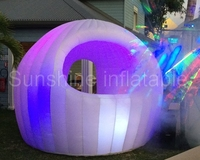 2017 new arrival oxford double layer small inflatable dome tent with led lights bar tent for party