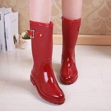 สีแดงสุภาพสตรีกันน้ำรองเท้าฝนผู้หญิงยางระบายอากาศแฟชั่นหัวเข็มขัดสีทึบRainbootsน้ำรองเท้าBotas Mujerคุณภาพ