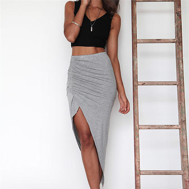 7a7957c2a6 Skinny Slit Maxi Long Pencil Skirt Womens Ladies Ruched Side Split Slim Hip  Skirts Wholesale Black Grey