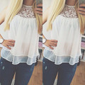 New Arrival 2016 Women Fashion Casual Sheer Sleeveless Lace Crochet Chiffon Blouse Ladies White Tops Plus Size