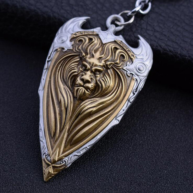 Classic Game WOW World of Warcraft Lion Keychain Antique Copper Lion King Head Metal Shield Charms Key Pendant Chaveiro Jewelry