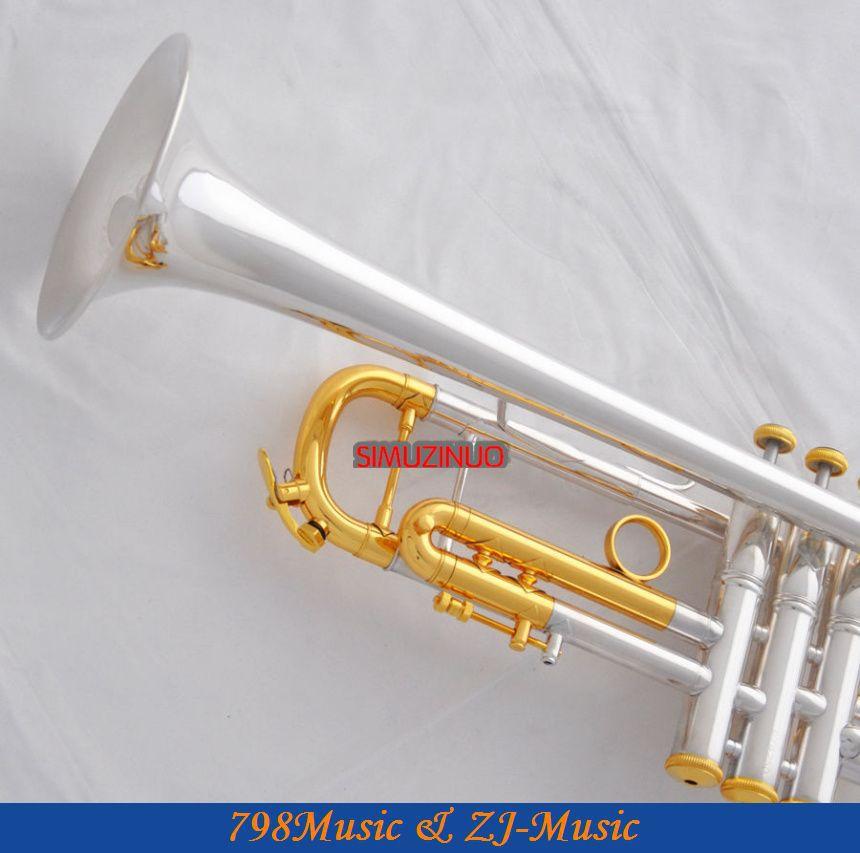 Professzionális ezüst aranyozott trombita Monel B-lapos fekete héj - Hangszerek - Fénykép 3