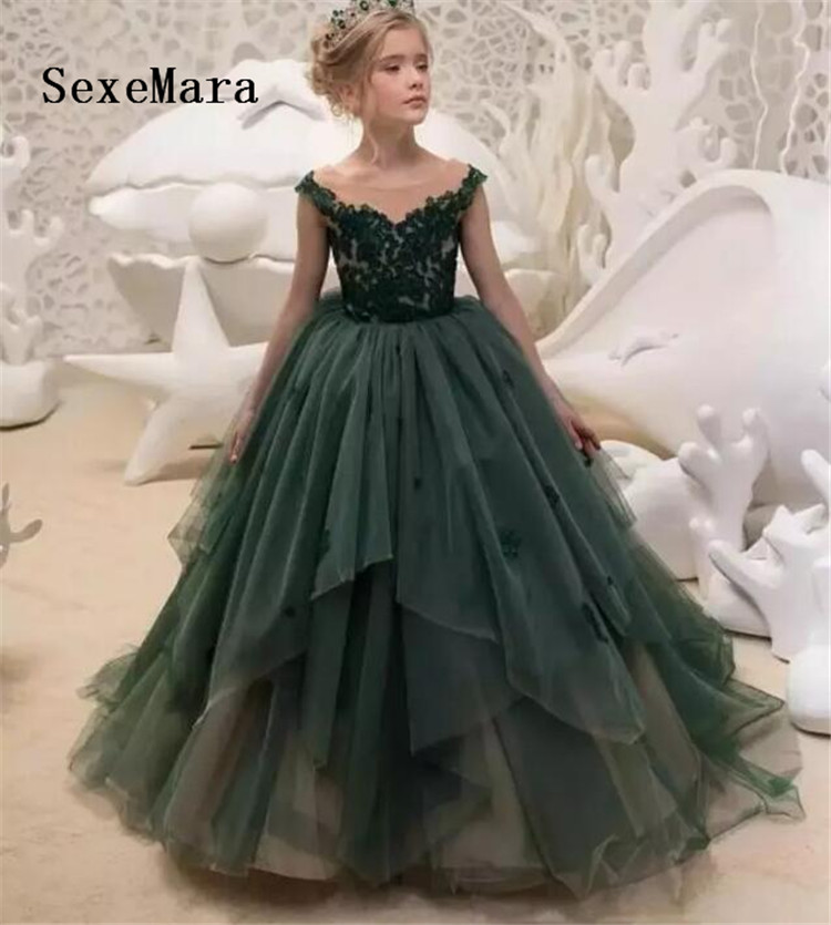 все цены на New Green Lace O Neck Flower Girl Dress Pageant Gown Puffy Tulle Applique Children Birthday Party Dress Custom Made