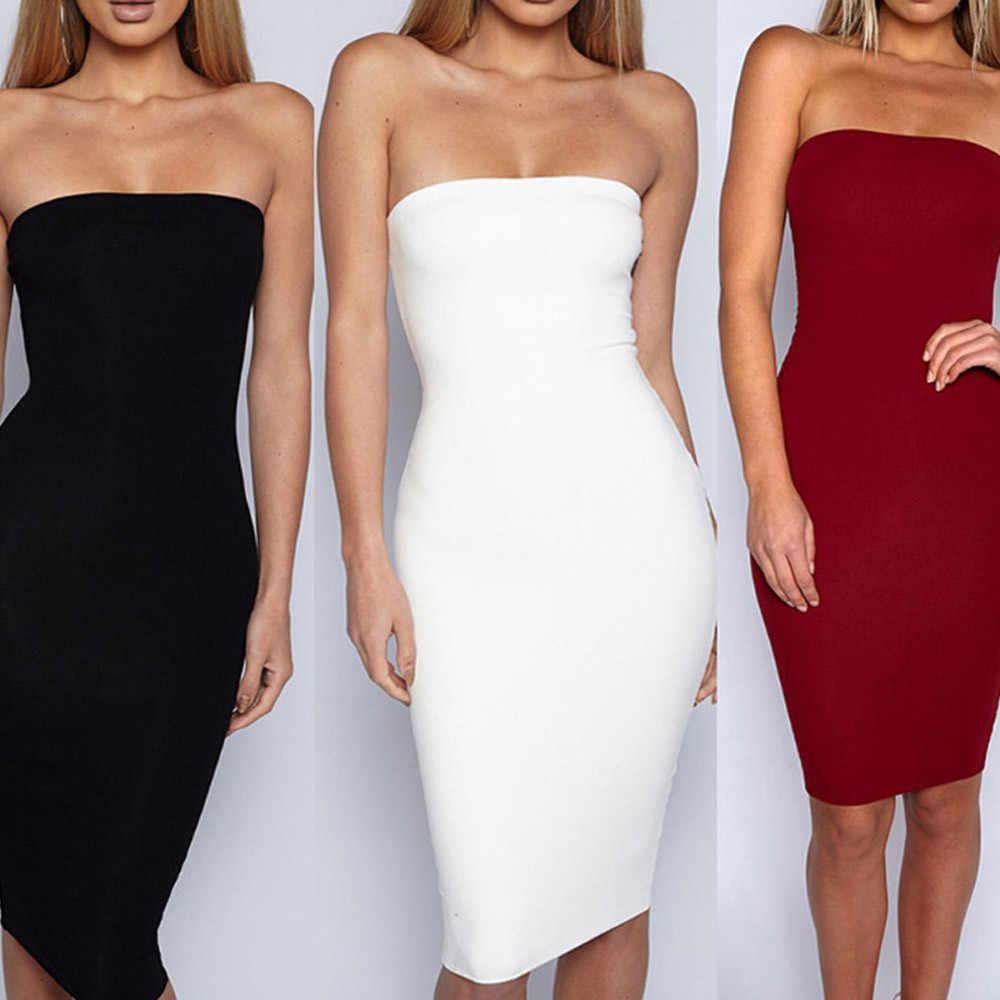 קיץ שמלת 2019 שרוול מקרית נשים סקסי Bodycon שרוולים עיפרון סטרפלס Off-כתף שמלת vestidos דה פיאסטה # N45