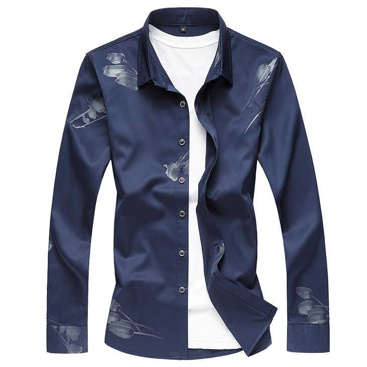 3 цвета 2019 осень новая мужская повседневная футболка с цветочным принтом белая рубашка с длинными рукавами Мужская брендовая одежда плюс размер 5XL 6XL 7XL
