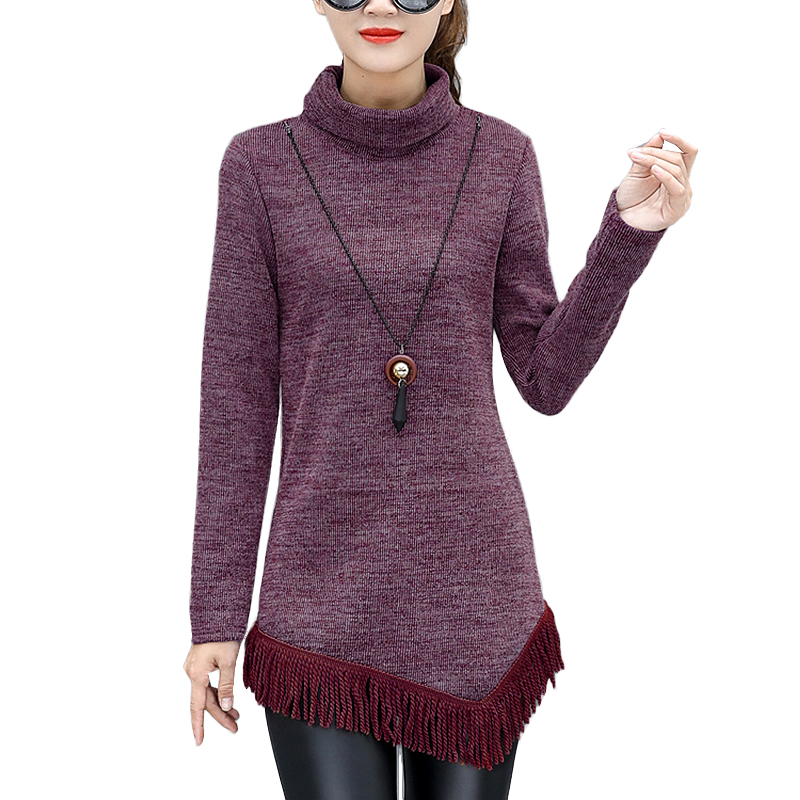 2017 New Autumn Winter Tassel Sweaters Women long sleeve Turtleneck pullovers knitted christmas sweaters pull femme jumper